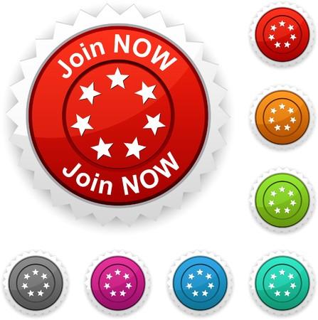 Join now award button.  Vector