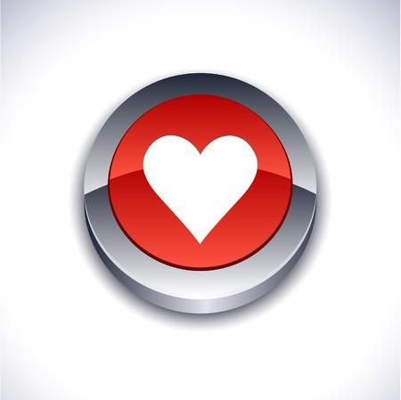 Love  metallic 3d vibrant round icon.  Stock Vector - 7214731