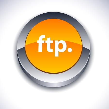 ftp: FTP metallic 3d vibrant round icon.  Illustration