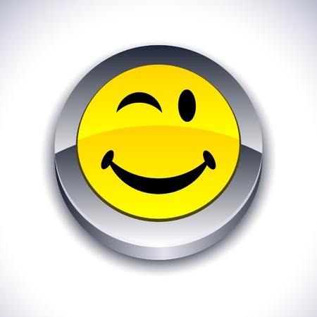 icon 3d: Smiley metallic 3d vibrant round icon.  Illustration