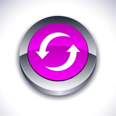 Refresh metallic 3d vibrant round icon.  Vector