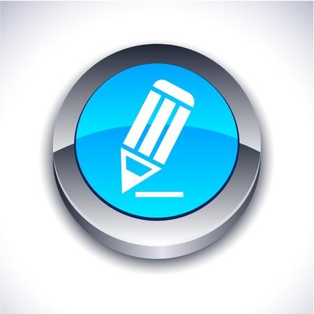 icon 3d: Pencil metallic 3d vibrant round icon.