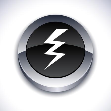 warning metallic 3d vibrant round icon.  Vector