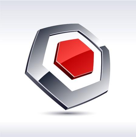 Abstract modern 3d hexagon logo. Vector.