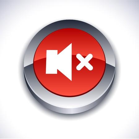 mute: Mute metallic 3d vibrant round icon.