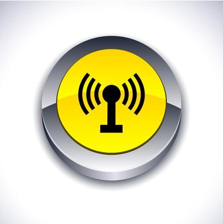 Radio metallic 3d vibrant round icon.  Stock Vector - 7242202