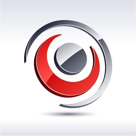 Abstract modern 3d flower logo. Vector.