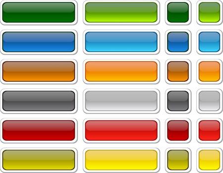 bouton brillant: Boutons de couleur blanc web. Vecteur.  Illustration