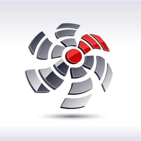 Abstract modern 3d propeller logo. Vector.