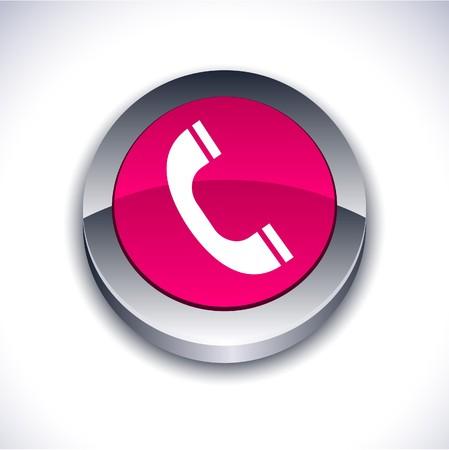 Telephone metallic 3d vibrant round icon. Stock Vector - 7242314