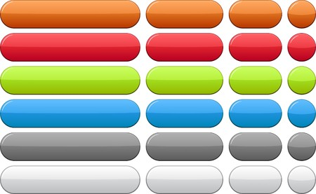push button: Blank oval color buttons. Vector.