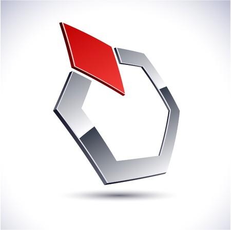 salient: Abstract modern 3d geometric logo. Vector.