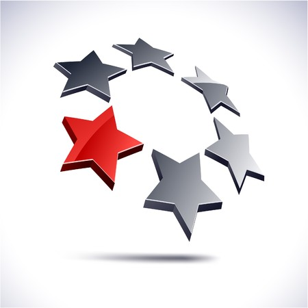 stars: Abstract modern 3d stars logo. Vector.