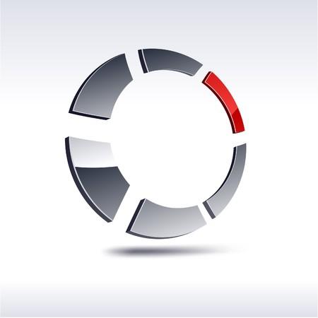 salient: Abstract modern 3d round logo. Vector.