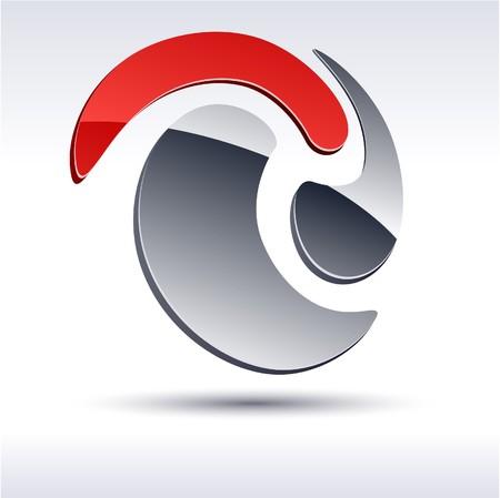 protuberant: Abstract modern 3d swirl logo. Vector.