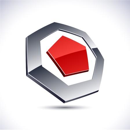 Abstract modern 3d heptagon logo. Vector.