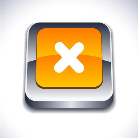 Cross metallic 3d vibrant square icon.  Stock Vector - 7261725