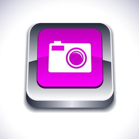 Photo metallic 3d vibrant square icon.  Stock Vector - 7261721