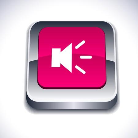 Sound metallic 3d vibrant square icon.  Stock Vector - 7261736