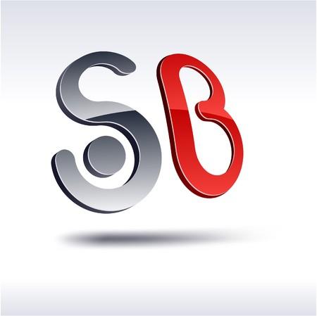 letras cromadas: Abstracto moderno 3d SB logotipo.  Vectores