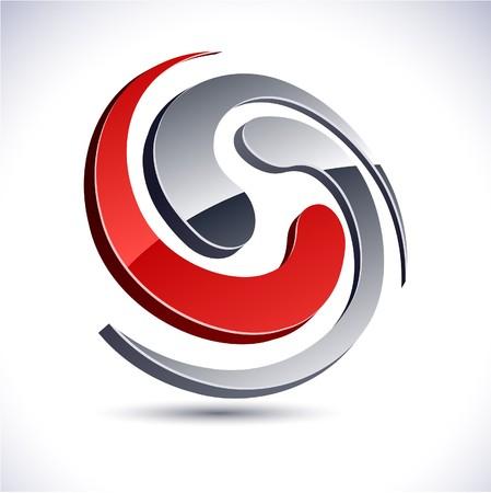 black swirls: Abstract modern 3d swirl logo.