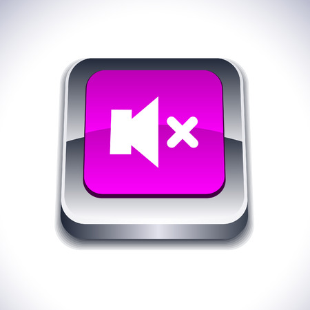 Mute metallic 3d vibrant square icon.  Stock Vector - 7277043