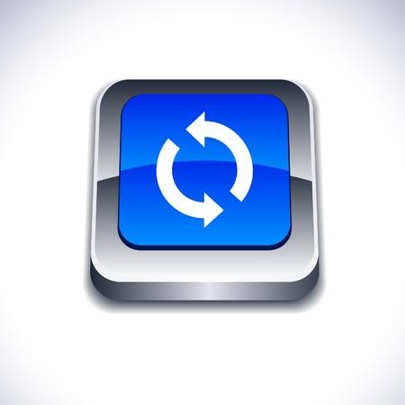 refrescarse: Actualizar metálico icono cuadrado vibrante 3d.  Vectores