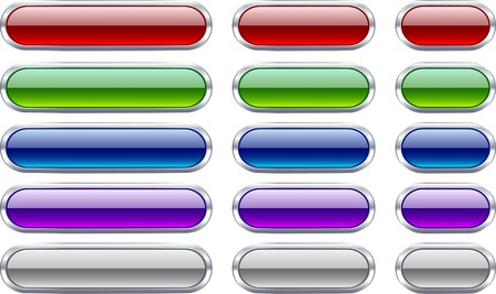 blue pills: Long and short metallic buttons.