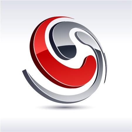 protuberant: Abstract modern 3d spiral logo. Illustration