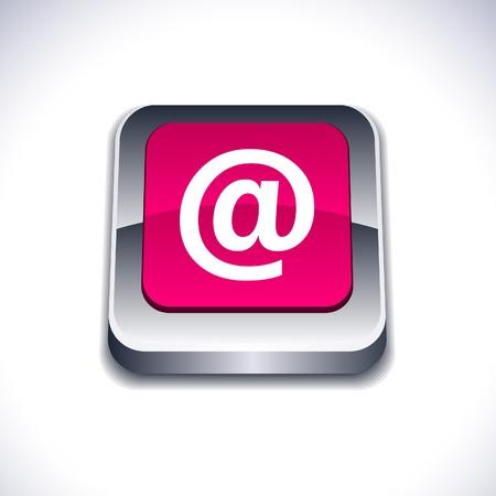 arroba: Arroba metallic 3d vibrant square icon.