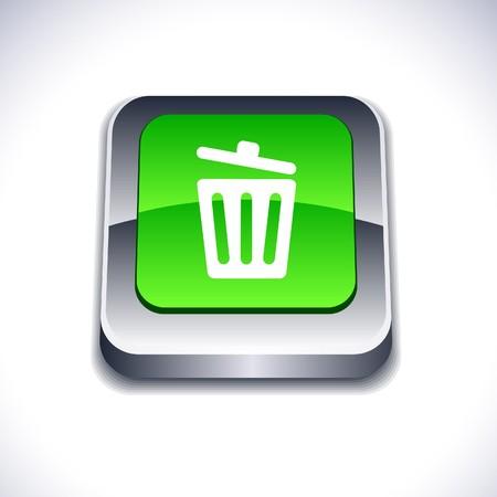 delete: Recycle bin metallic 3d vibrant square icon.