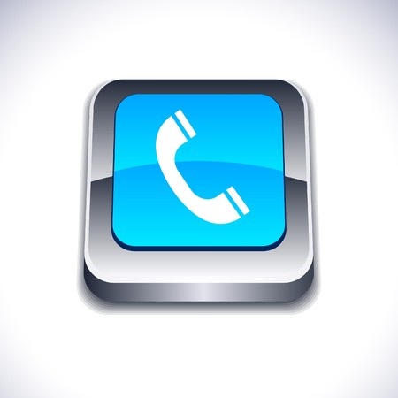 Telephone metallic 3d vibrant square icon. Stock Vector - 7286999