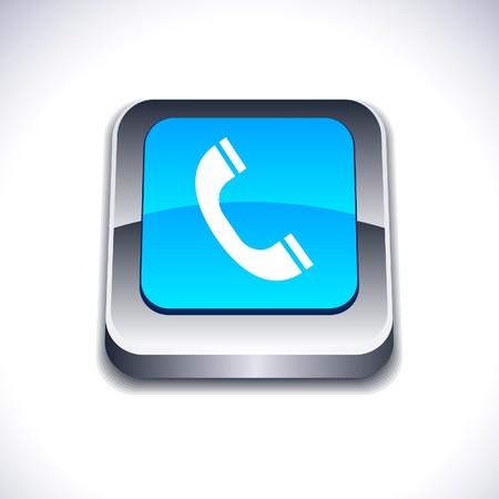 receiver: Telephone metallic 3d vibrant square icon.