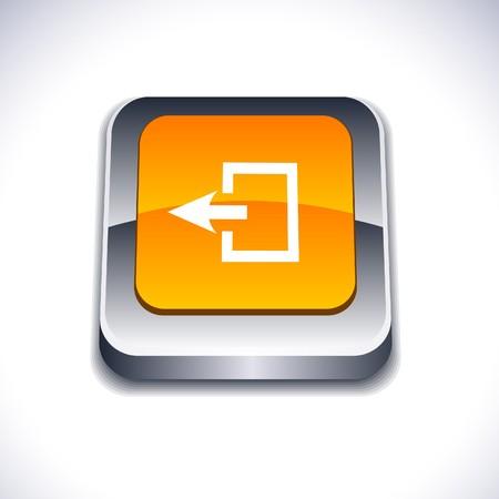 Exit metallic 3d vibrant square icon. Stock Vector - 7286998