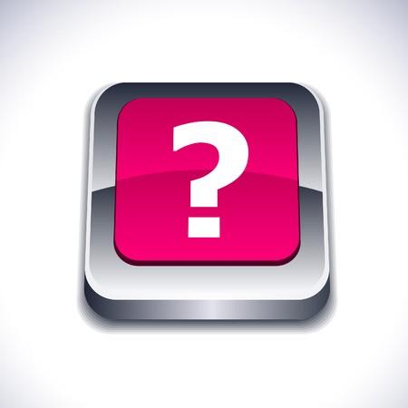 Question metallic 3d vibrant square icon. Stock Vector - 7286997