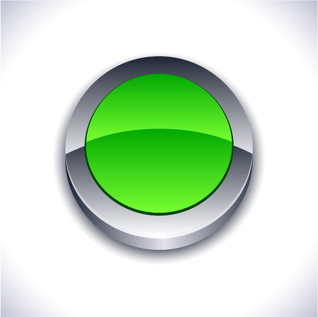 Blank 3d green button.  Stock Vector - 7286995