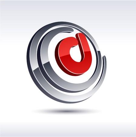 d:  illustration of 3D D symbol.  Illustration