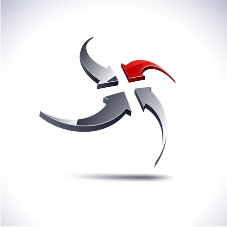 protuberant: Abstract modern 3d arrows logo. .