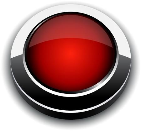 cromo: Bot�n rojo 3d en blanco.