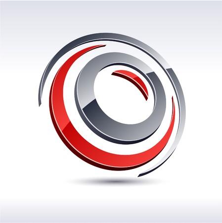logo circle: Abstract modern 3d flower logo
