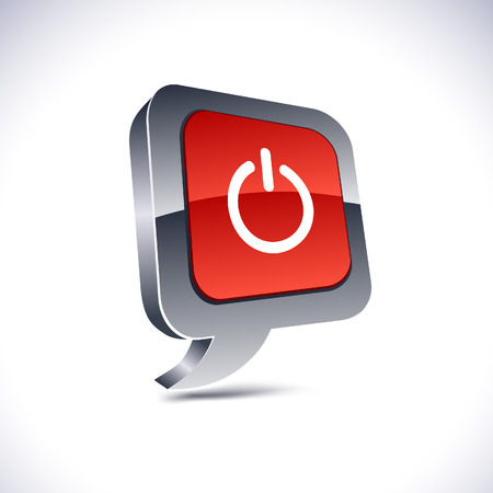 power button: Switch metallic 3d vibrant balloon icon.   Illustration