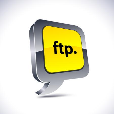FTP metallic 3d vibrant balloon icon. Stock Vector - 7293082