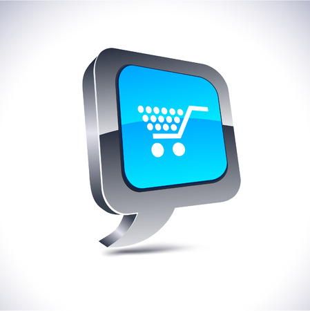 chrome cart: Shopping metallic 3d vibrant balloon icon.   Illustration
