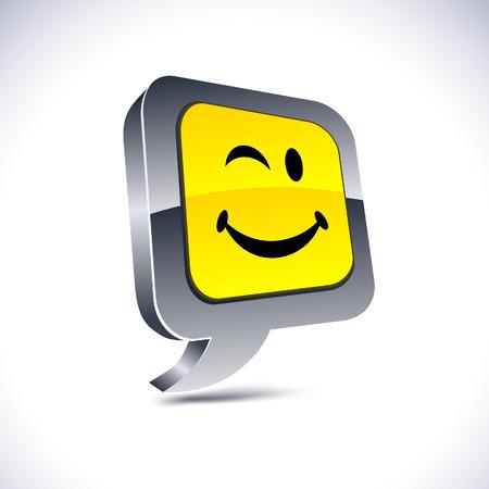 Smiley metallic 3d vibrant balloon icon.   Vector