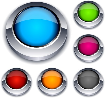 Blank 3d round buttons. Stock Vector - 7297306