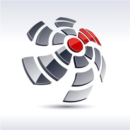 salient: Abstract modern 3d propeller logo.  Illustration