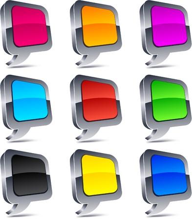 Metallic 3d vibrant balloon icons. Stock Vector - 7316210