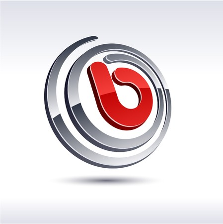 internet logo: illustration of 3D B symbol.