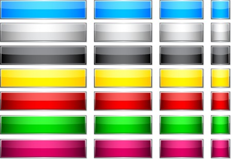 rectangle button: Blank rectangular glossy buttons.