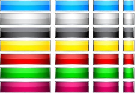 Botones brillantes rectangulares en blanco.  Foto de archivo - 7322109